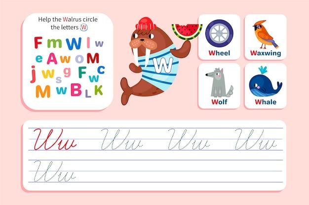 Foglio di lavoro lettera w con tricheco