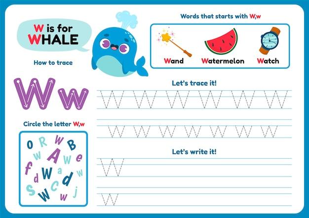 Foglio di lavoro lettera w con balena e oggetti Vettore Premium