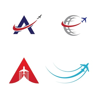 Una lettera con l'icona dell'aeroplano illustrazione vettoriale design logo template