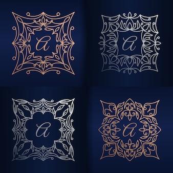 Lettera a con modello di logo cornice floreale