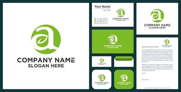 Lettera a con logo naturale foglia e biglietto da visita vettore premium