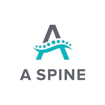 Lettera a con colonna vertebrale semplice elegante design geometrico creativo moderno logo