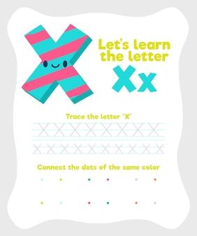 Lettera x dal foglio di lavoro dell'alfabeto