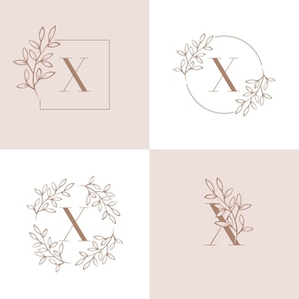 Lettera x logo design con elemento foglia di orchidea