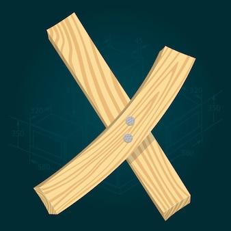 Lettera x - carattere vettoriale stilizzato realizzato con assi di legno martellate con chiodi di ferro.
