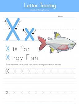 Lettera x tracciamento alfabeto animale x per pesci a raggi x.