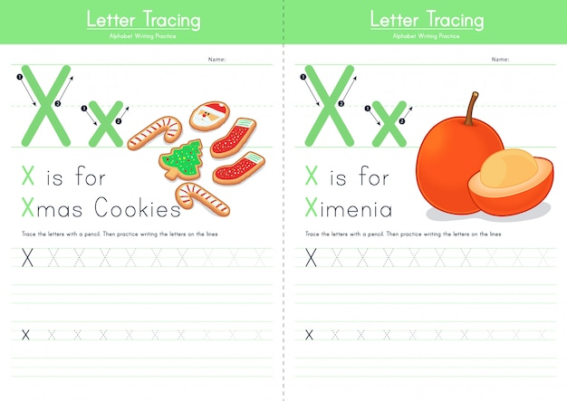 Lettera x alfabeto alimentare di tracciamento