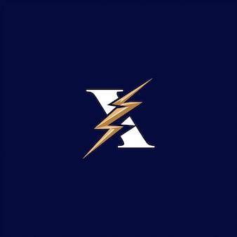 Lettera x con logo flash