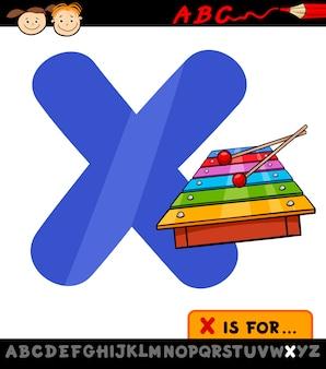 Lettera x con illustrazione di cartone animato xilofono