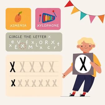 Modello di foglio di lavoro lettera x