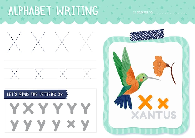 Foglio di lavoro lettera x con uccello xantus