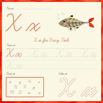 Foglio di lavoro lettera x con pesce raggi x