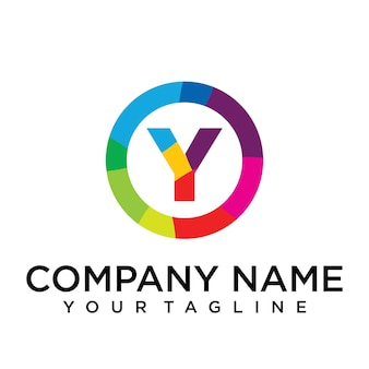 Modello di progettazione del logo della lettera y. segno creativo foderato colorato