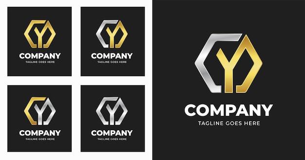 Modello di progettazione del logo della lettera y con stile di forma geometrica