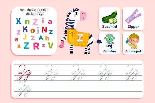 Modello di foglio di lavoro lettera z