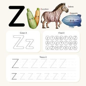 Foglio di lavoro della lettera z con zebra, zeppelin, zucchine
