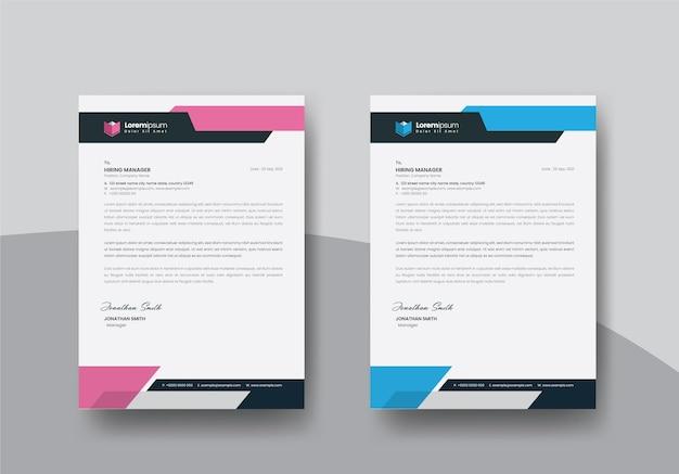 Modello di carta intestata con layout di colore blu e rosa