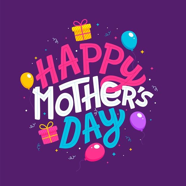 Lettering happy mothers day bellissimo biglietto di auguri