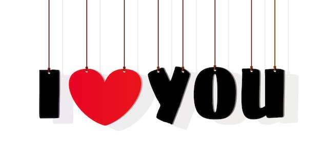 Lettering ti amo con cuore rosso isolato su un bianco