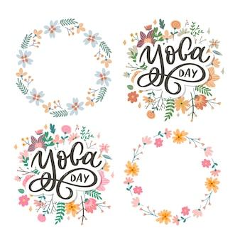 Lettering giornata internazionale dello yoga. corona floreale e set di cornici