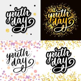 Iscrizione dello slogan internazionale del fondo di giorno giallo della gioventù