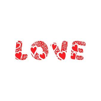Lettere d'amore. la frase di parola amore. lettere con cuori su sfondo bianco. illustrazione vettoriale eps 10
