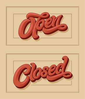 Lettering aperto chiuso per la progettazione del segno sulla porta del negozio