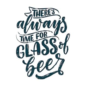 Poster di lettere con citazione sulla birra in stile vintage.