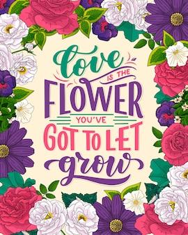 Citazione scritta sui fiori