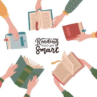 Citazione scritta - la lettura ti rende intelligente - con le mani che tengono libri colorati.