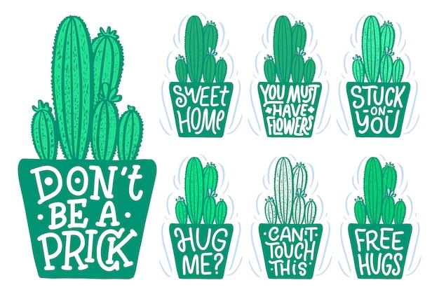 Citazioni scritte sui cactus, illustrazione fatta dentro. composizione disegnata a mano.