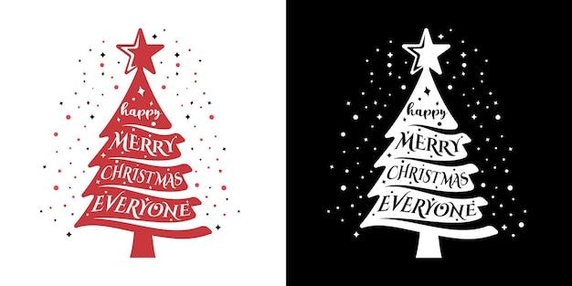 Lettering tipografia merry christmas logo design template inspiration