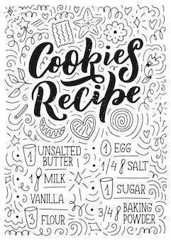 Iscrizione con ricetta di biscotti.