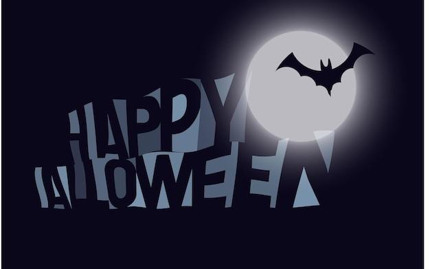 Iscrizione con banner vettoriale luna e pipistrello. modello dell'insegna di halloween felice spaventoso. spazio negativo testo semplice, decorazione per le vacanze. biglietto d'invito blu scuro
