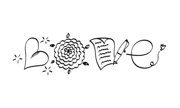 Lettering parola amore su tipografia disegnata a mano di san valentino isolato su sfondo bianco divertente pennello