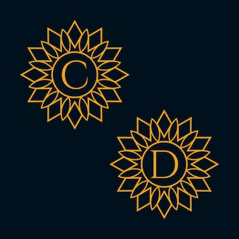 Lettere c e d design vector