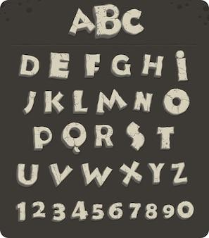 Lettere dell'età della pietra con crepe, carattere vettoriale
