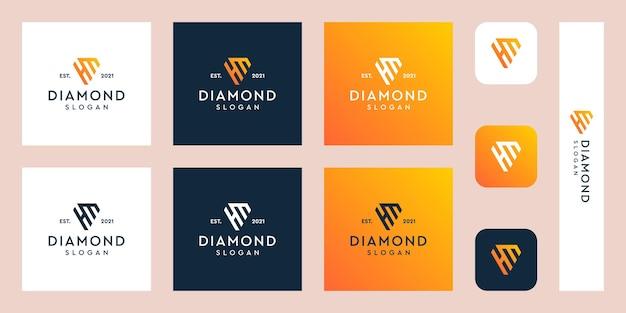 Logo del monogramma delle lettere h e m con forme di diamante astratte vettori premium