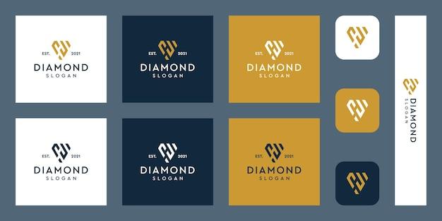 Logo del monogramma delle lettere h con forme di diamante astratte vettori premium