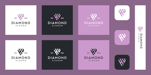Logo del monogramma delle lettere h e u con forme di diamante astratte vettori premium