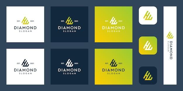Lettere h e w logo monogramma con forme di diamante astratte vettori premium