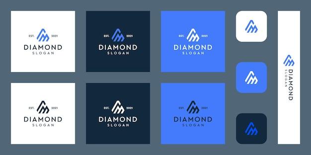 Lettere m logo monogramma con forme di diamante astratte vettori premium