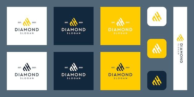 Logo del monogramma delle lettere n e h con forme di diamante astratte vettori premium