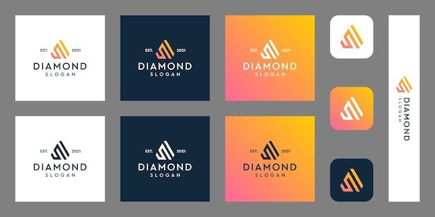 Lettere n logo monogramma con forme di diamante astratte vettori premium