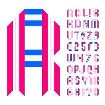 Lettere e numeri piegati da nastro di carta colorata