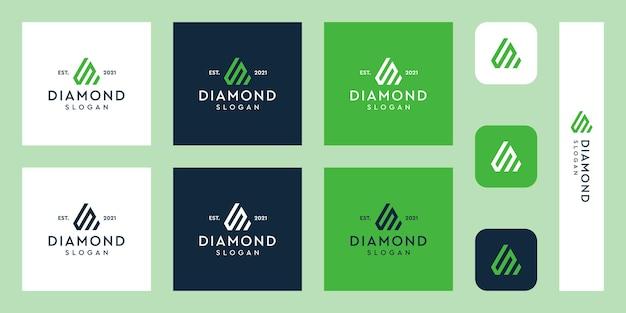 Logo del monogramma delle lettere con forme di diamante astratte vettori premium