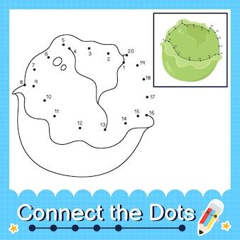 Il puzzle per bambini di lattuga collega il foglio di lavoro dei punti per i bambini che contano i numeri da 1 a 20
