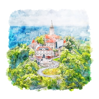 Illustrazione disegnata a mano di schizzo dell'acquerello della germania del castello di leuchtenburg