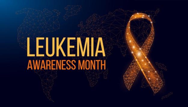 Concetto di mese di consapevolezza della leucemia. modello di banner con nastro arancione low poly incandescente. fondo astratto moderno del wireframe.