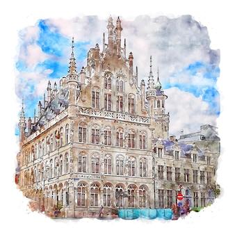Leuven belgio schizzo ad acquerello illustrazione disegnata a mano